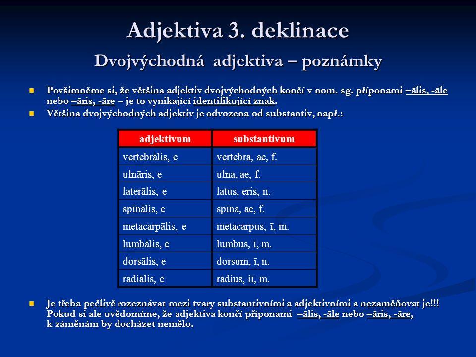 Adjektiva 3. deklinace Dvojvýchodná adjektiva – poznámky