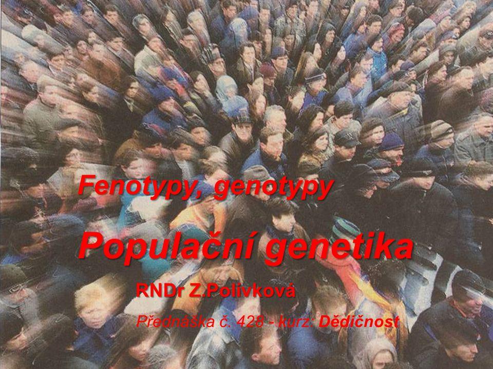Populační genetika Fenotypy, genotypy RNDr Z.Polívková
