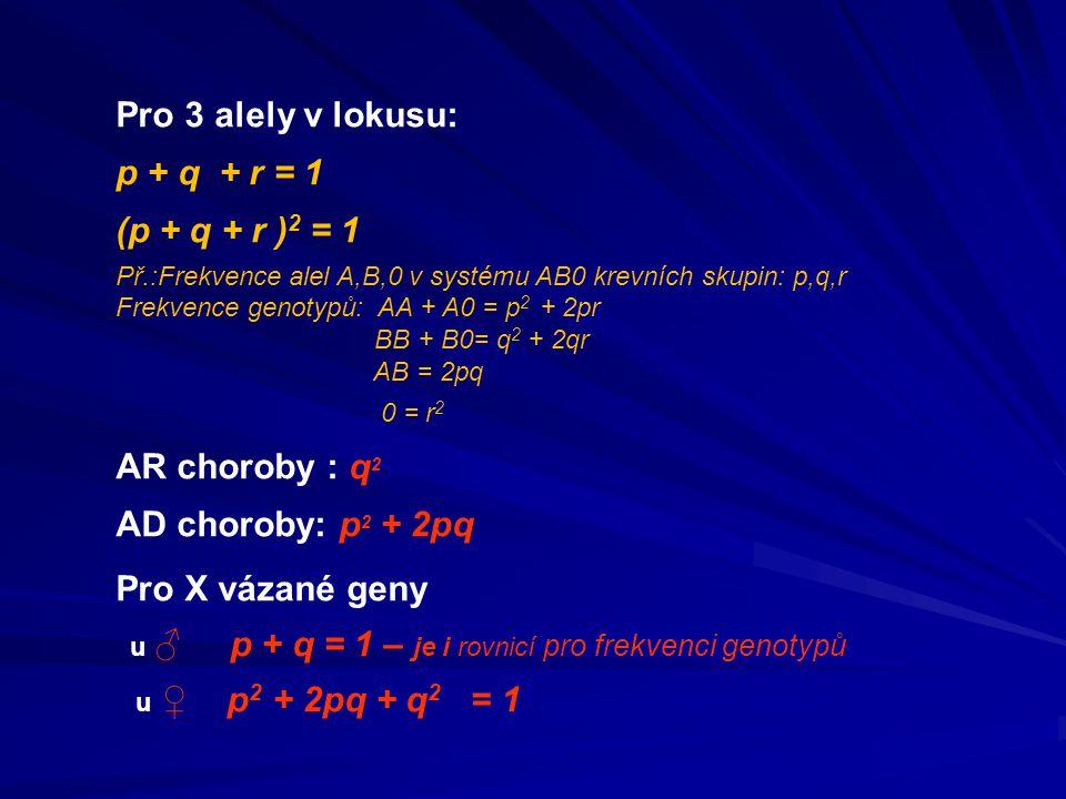 Pro 3 alely v lokusu: p + q + r = 1 (p + q + r )2 = 1 AR choroby : q2