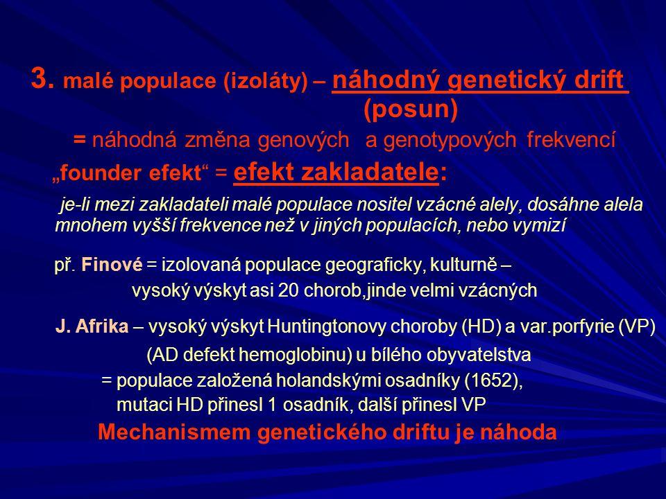3. malé populace (izoláty) – náhodný genetický drift (posun)