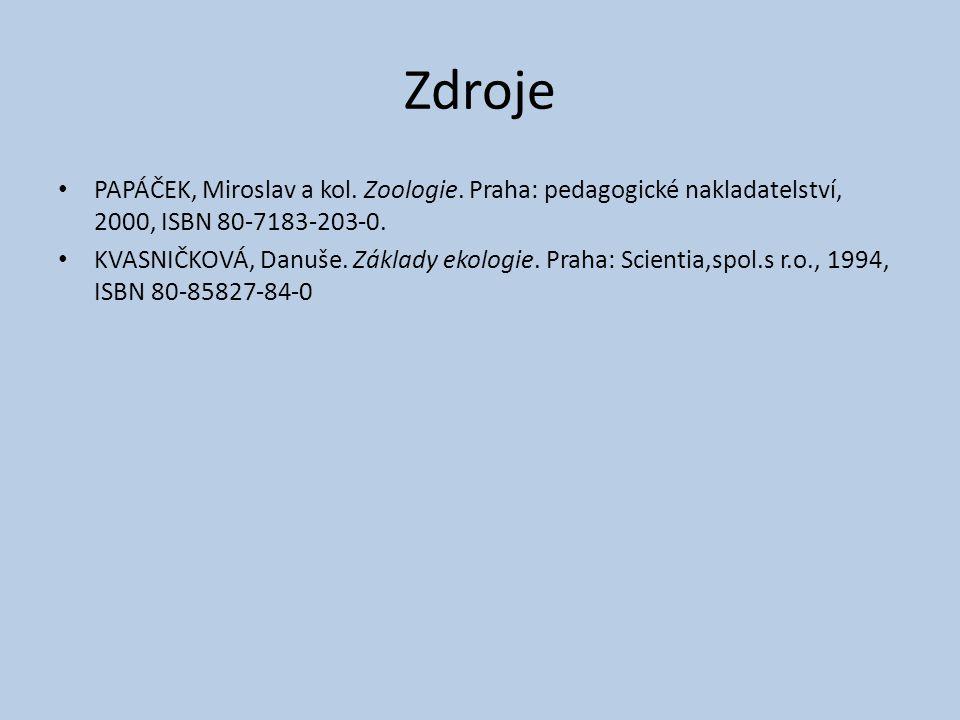 Zdroje PAPÁČEK, Miroslav a kol. Zoologie. Praha: pedagogické nakladatelství, 2000, ISBN 80-7183-203-0.