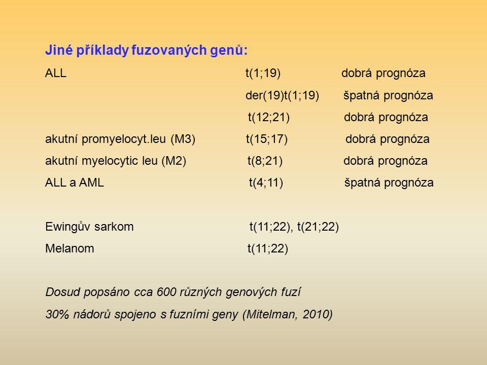Jiné příklady fuzovaných genů: