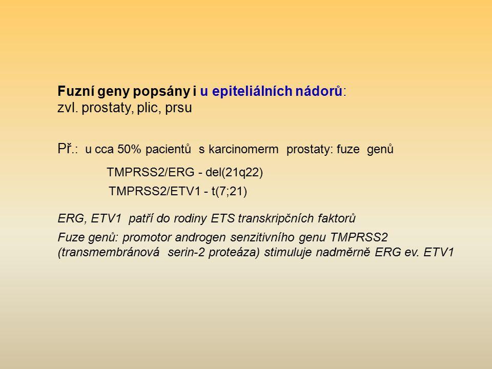 Fuzní geny popsány i u epiteliálních nádorů: zvl. prostaty, plic, prsu