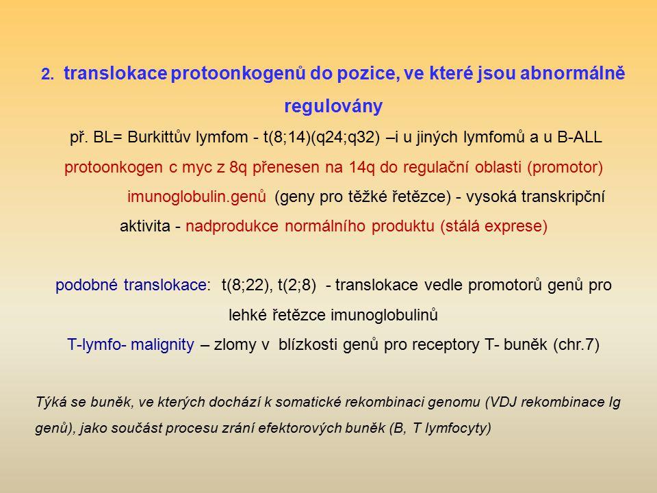 2. translokace protoonkogenů do pozice, ve které jsou abnormálně regulovány