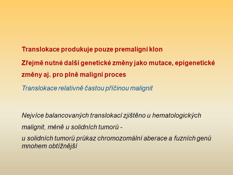 Translokace produkuje pouze premaligní klon