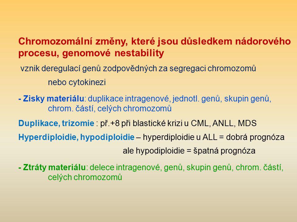 Chromozomální změny, které jsou důsledkem nádorového procesu, genomové nestability