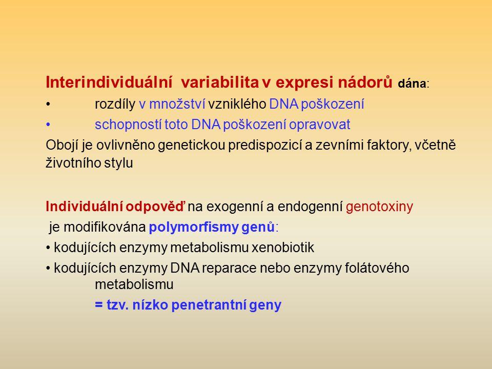 Interindividuální variabilita v expresi nádorů dána: