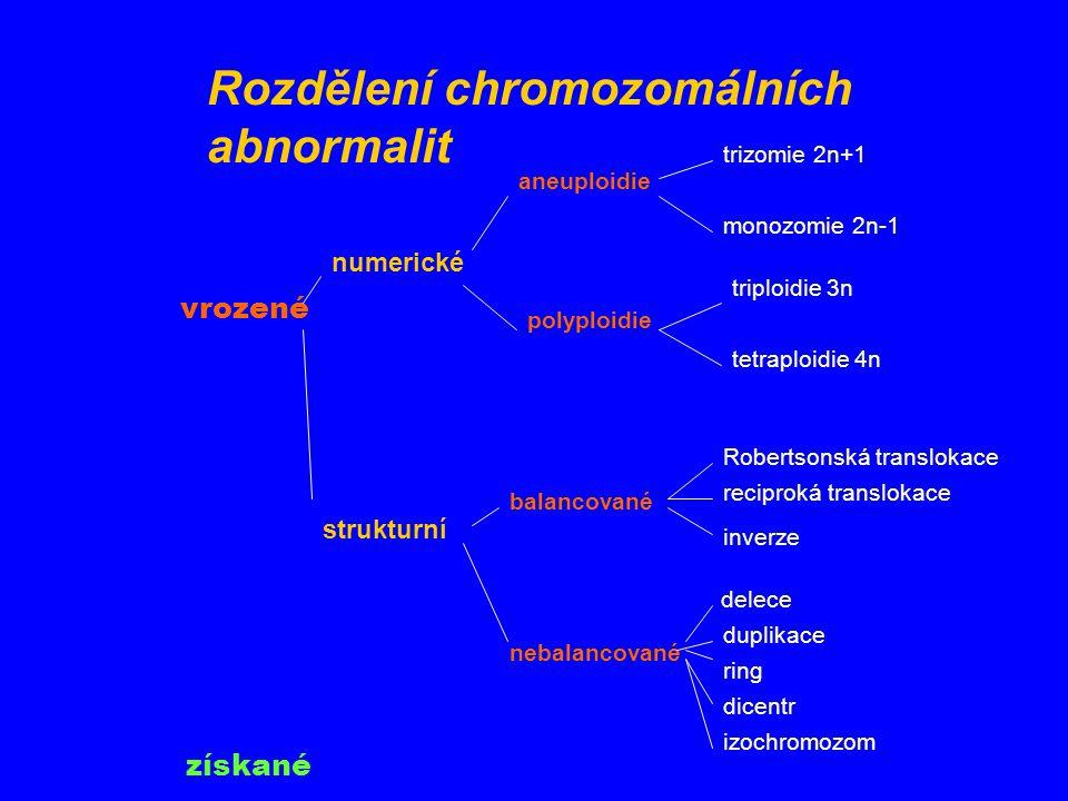 Rozdělení chromozomálních abnormalit