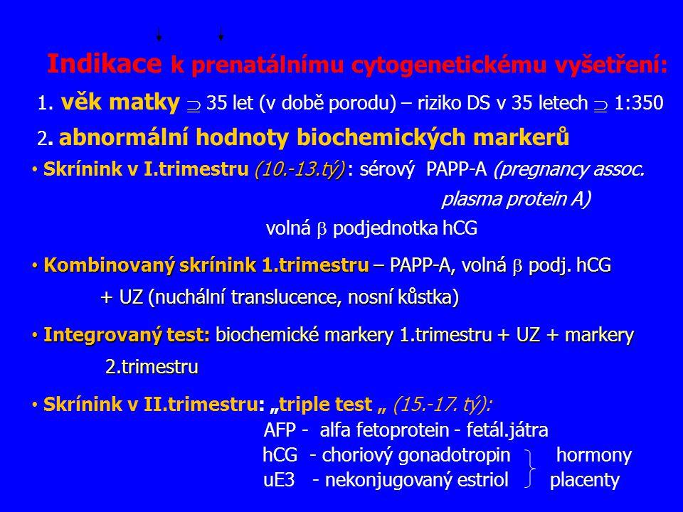 Indikace k prenatálnímu cytogenetickému vyšetření: