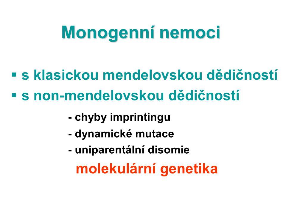 Monogenní nemoci s klasickou mendelovskou dědičností