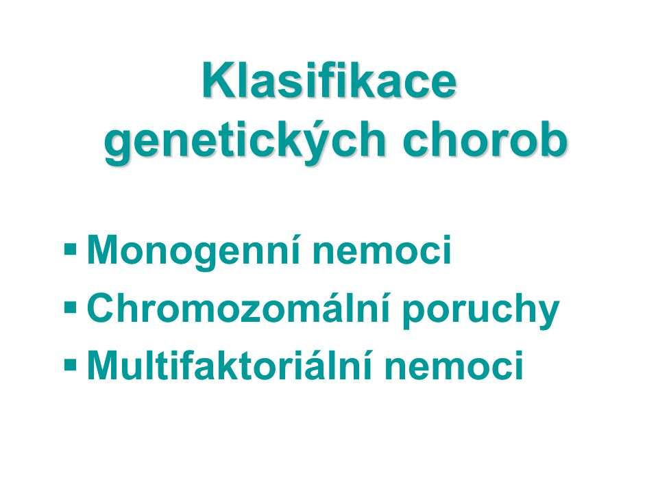 Klasifikace genetických chorob
