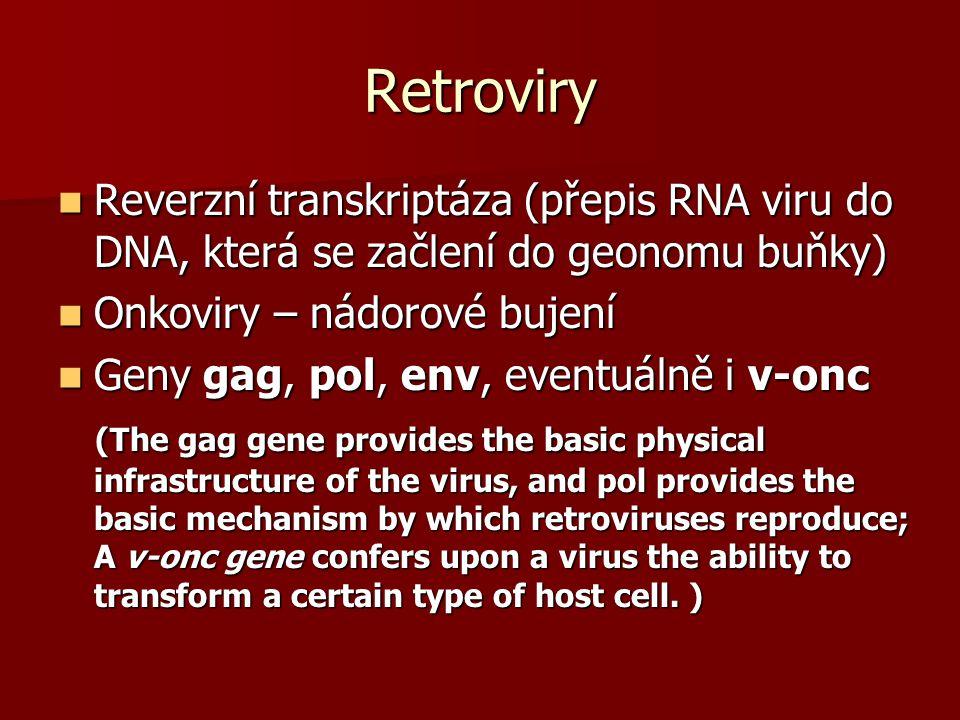 Retroviry Reverzní transkriptáza (přepis RNA viru do DNA, která se začlení do geonomu buňky) Onkoviry – nádorové bujení.
