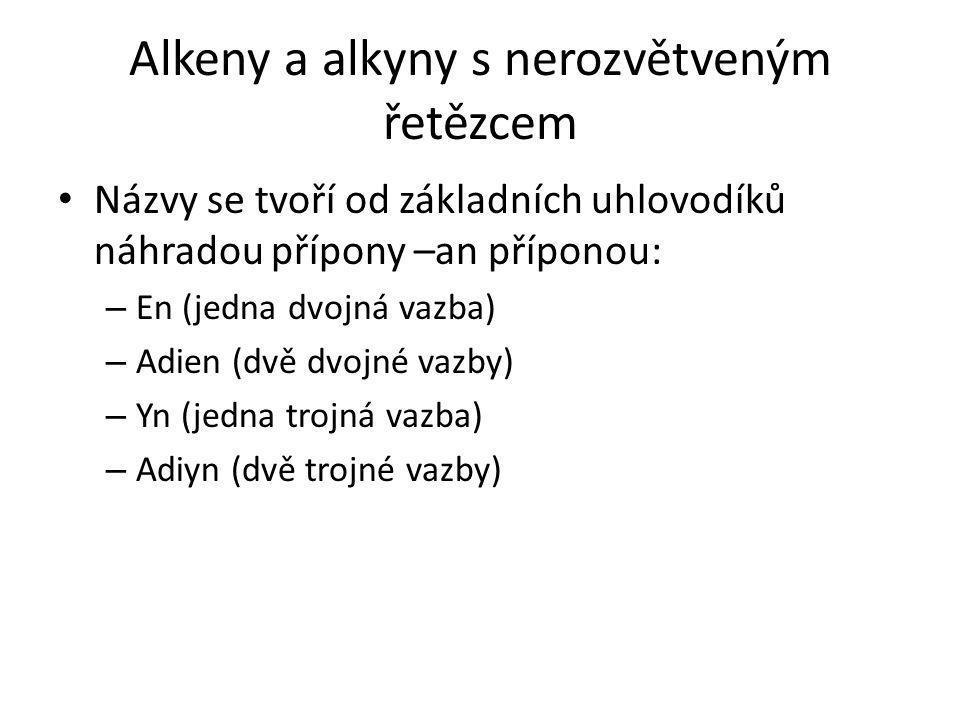 Alkeny a alkyny s nerozvětveným řetězcem