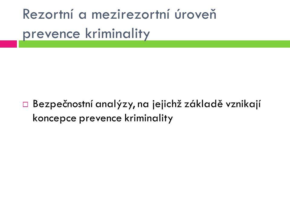 Rezortní a mezirezortní úroveň prevence kriminality