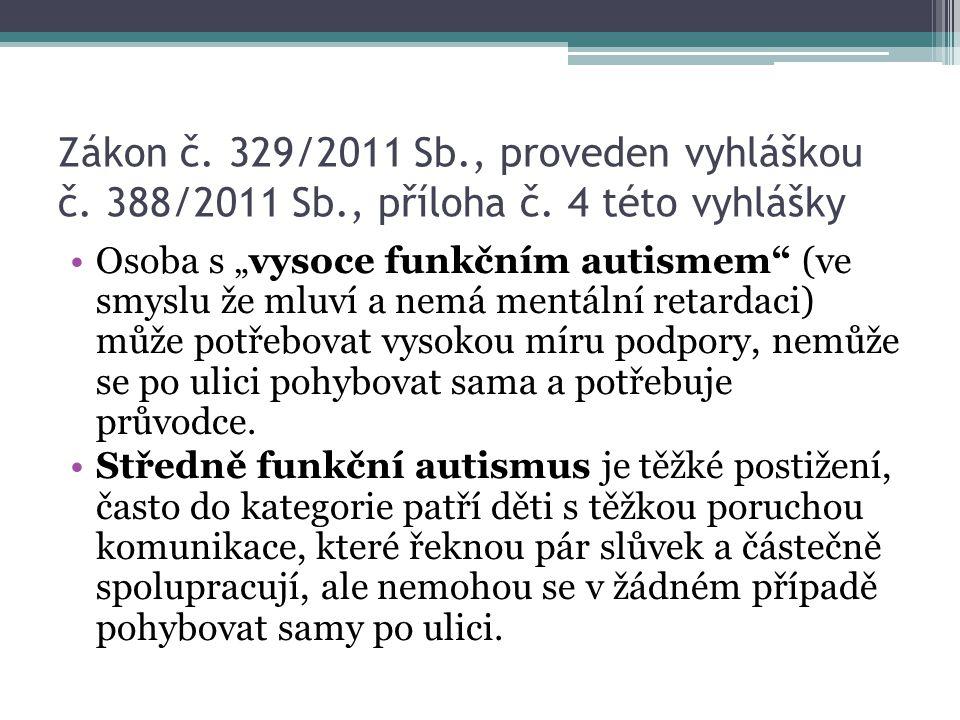 Zákon č. 329/2011 Sb. , proveden vyhláškou č. 388/2011 Sb. , příloha č
