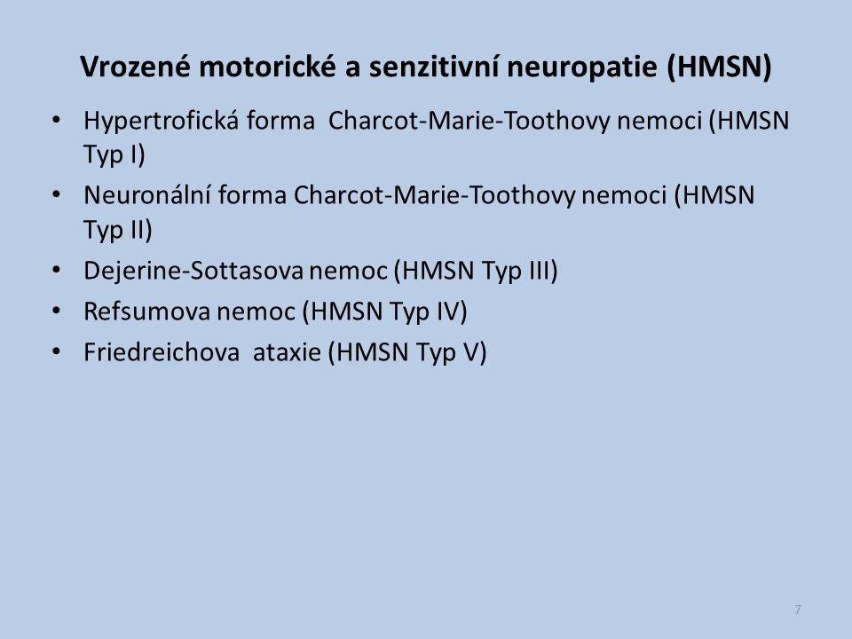 Vrozené motorické a senzitivní neuropatie (HMSN)