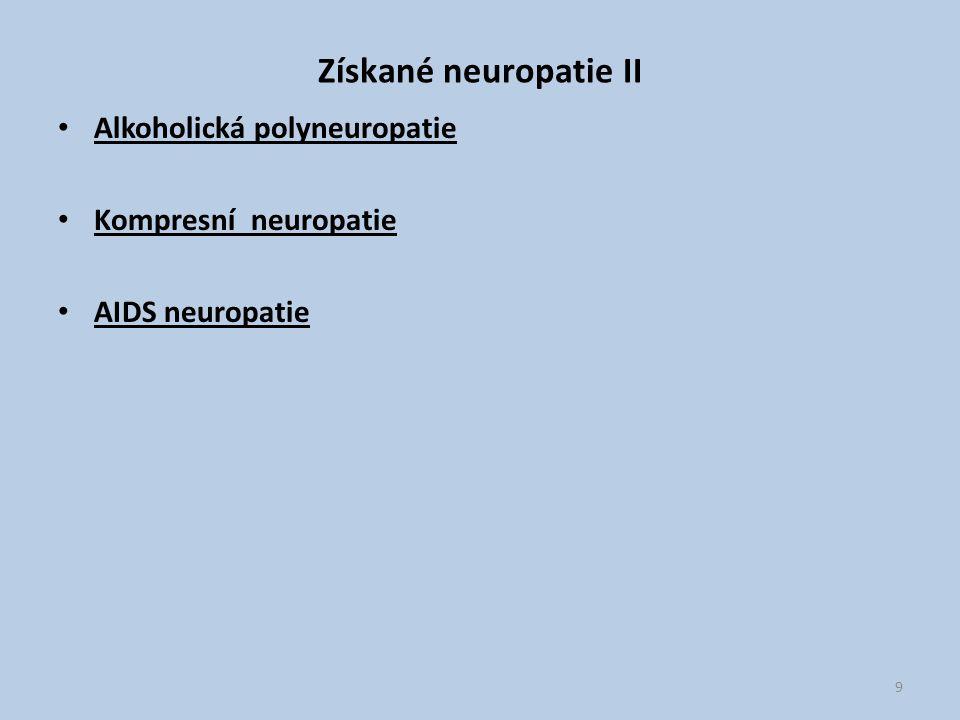 Získané neuropatie II Alkoholická polyneuropatie Kompresní neuropatie