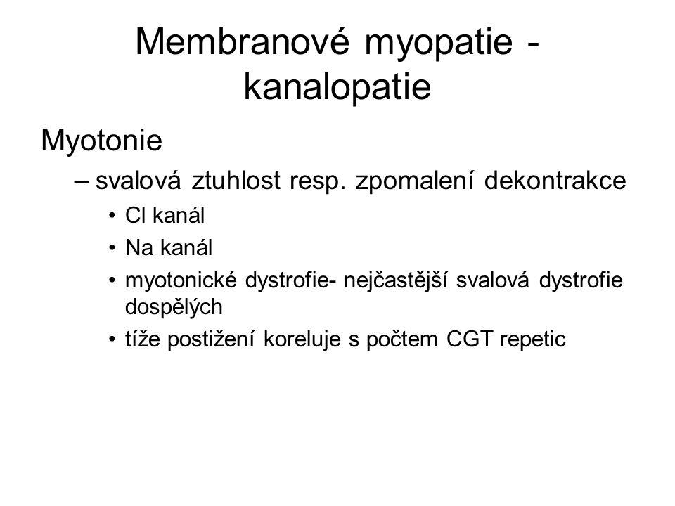 Membranové myopatie - kanalopatie