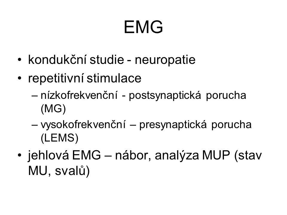 EMG kondukční studie - neuropatie repetitivní stimulace