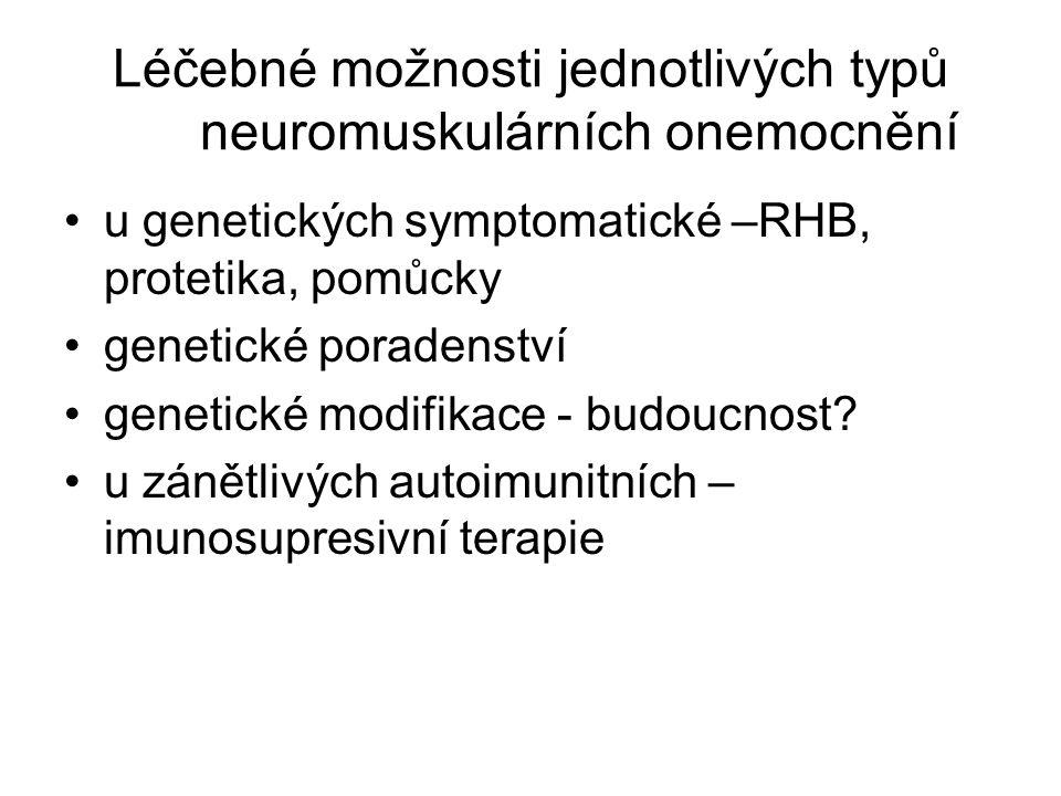 Léčebné možnosti jednotlivých typů neuromuskulárních onemocnění