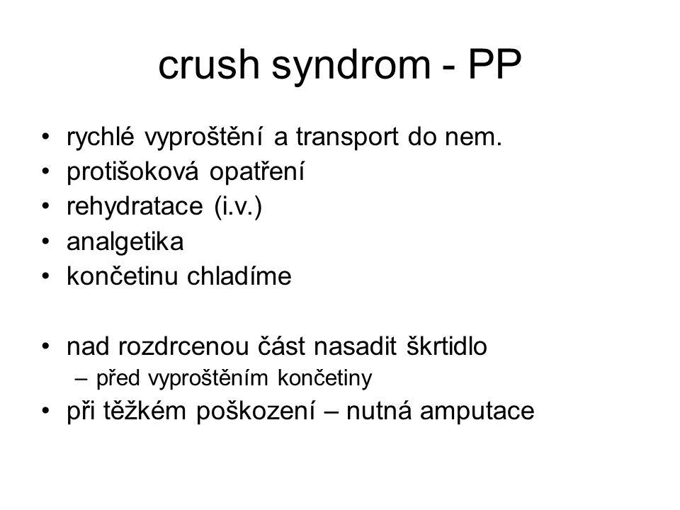 crush syndrom - PP rychlé vyproštění a transport do nem.