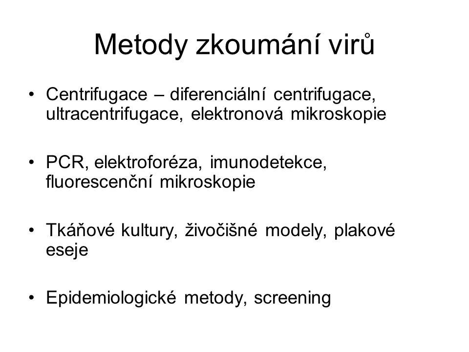 Metody zkoumání virů Centrifugace – diferenciální centrifugace, ultracentrifugace, elektronová mikroskopie.