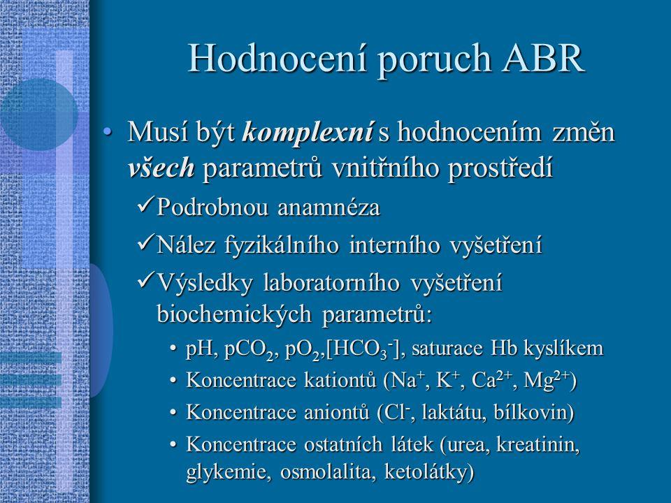 Hodnocení poruch ABR Musí být komplexní s hodnocením změn všech parametrů vnitřního prostředí. Podrobnou anamnéza.