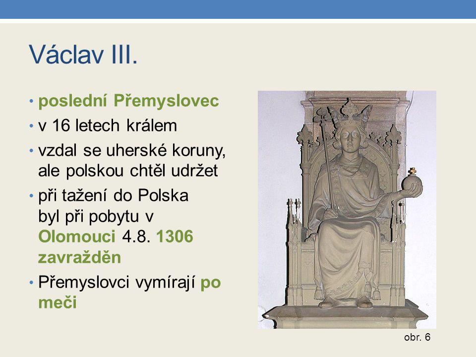 Václav III. poslední Přemyslovec v 16 letech králem