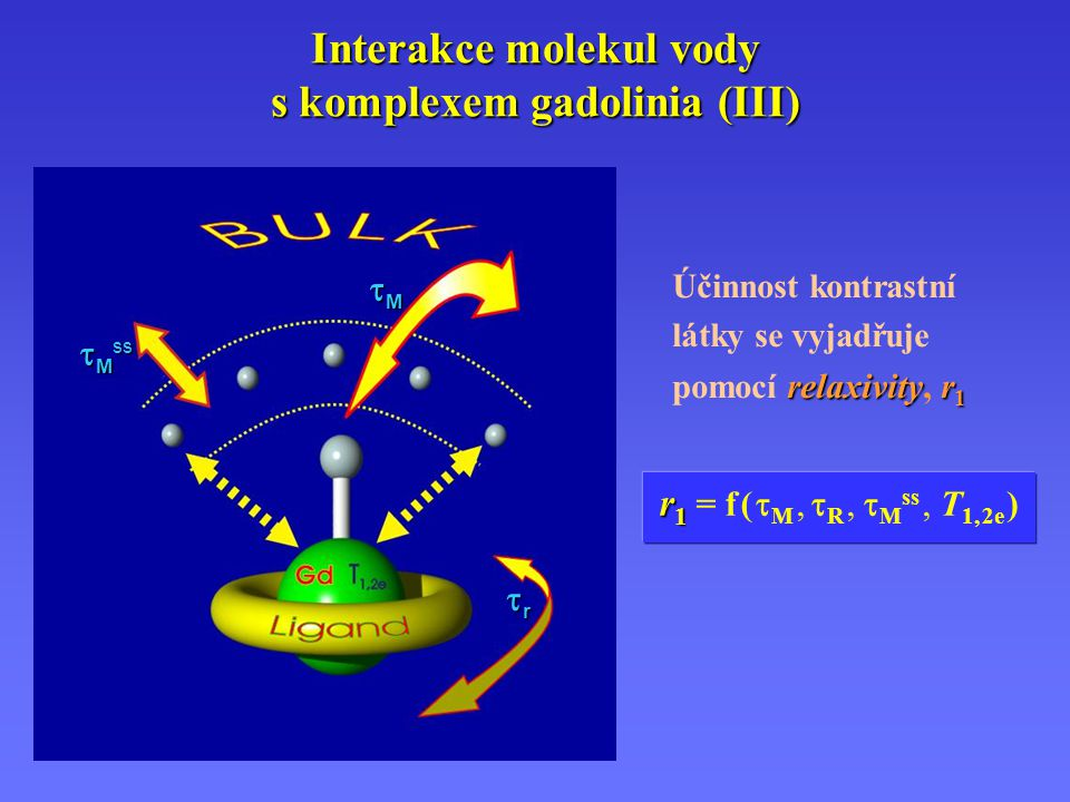 Interakce molekul vody s komplexem gadolinia (III)