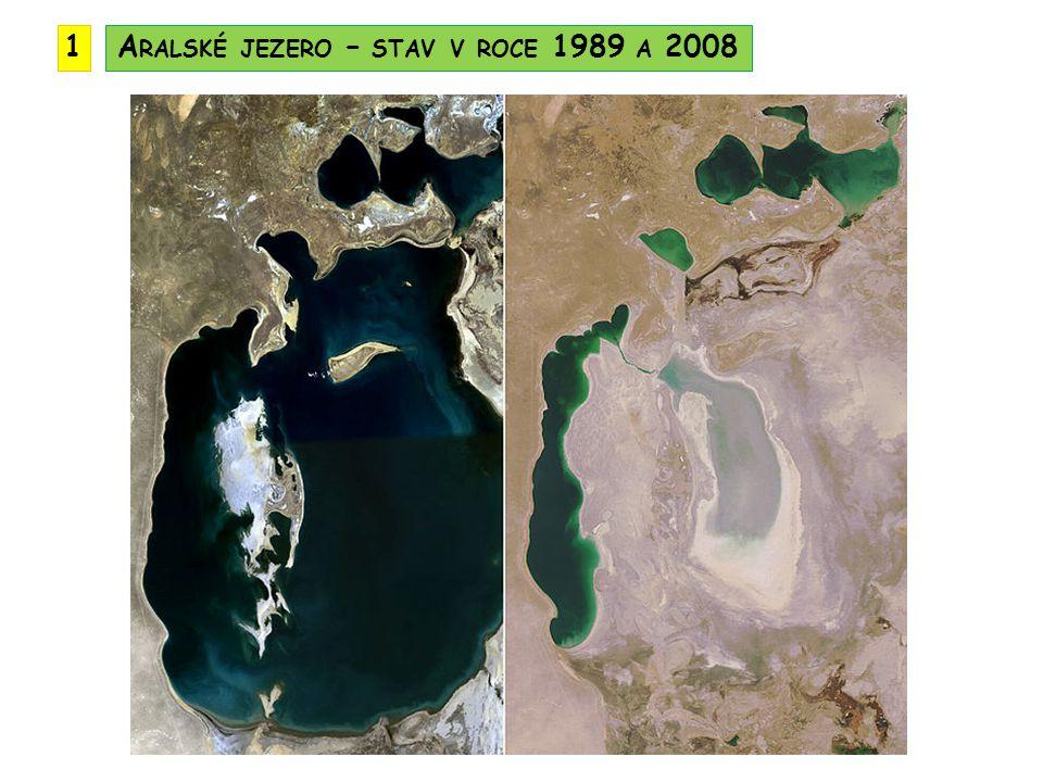 Aralské jezero – stav v roce 1989 a 2008