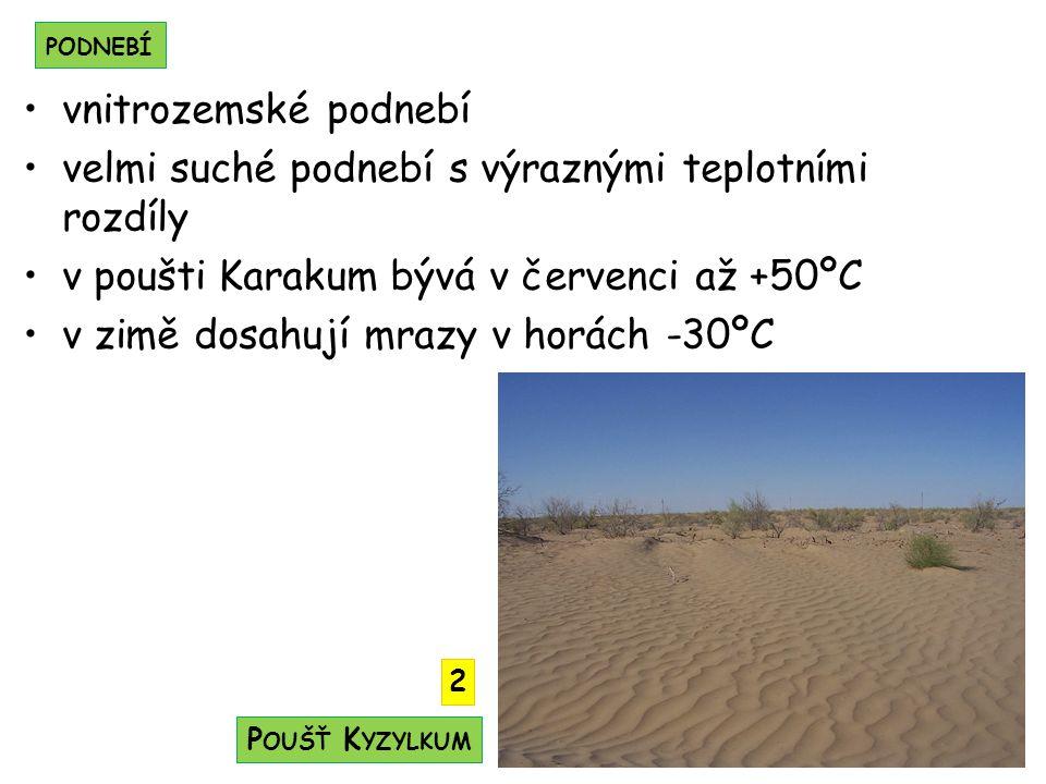 velmi suché podnebí s výraznými teplotními rozdíly