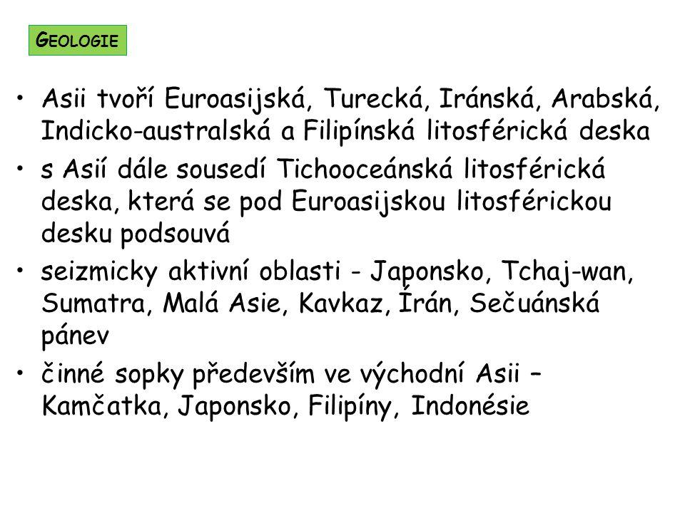 Geologie Asii tvoří Euroasijská, Turecká, Iránská, Arabská, Indicko-australská a Filipínská litosférická deska.