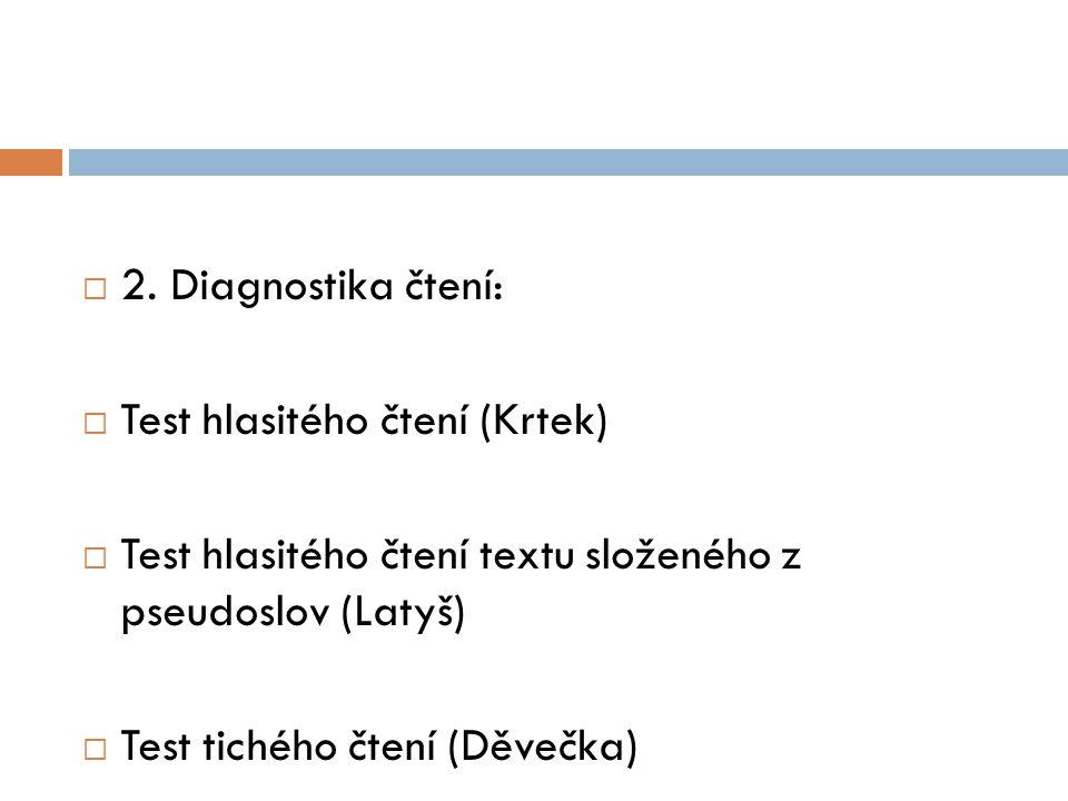 2. Diagnostika čtení: Test hlasitého čtení (Krtek) Test hlasitého čtení textu složeného z pseudoslov (Latyš)