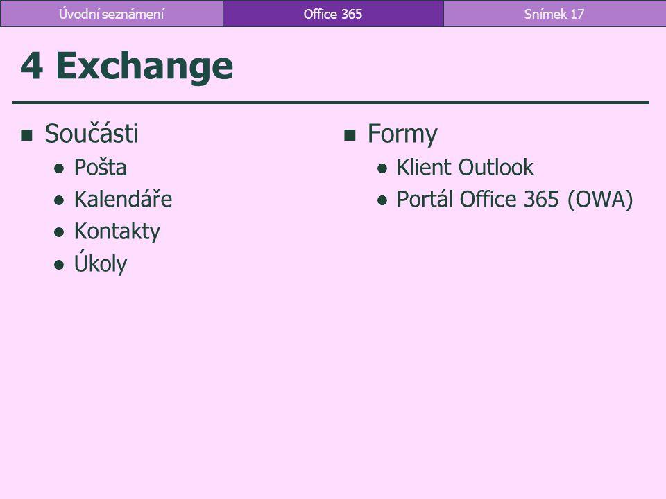 4 Exchange Součásti Formy Pošta Kalendáře Kontakty Úkoly