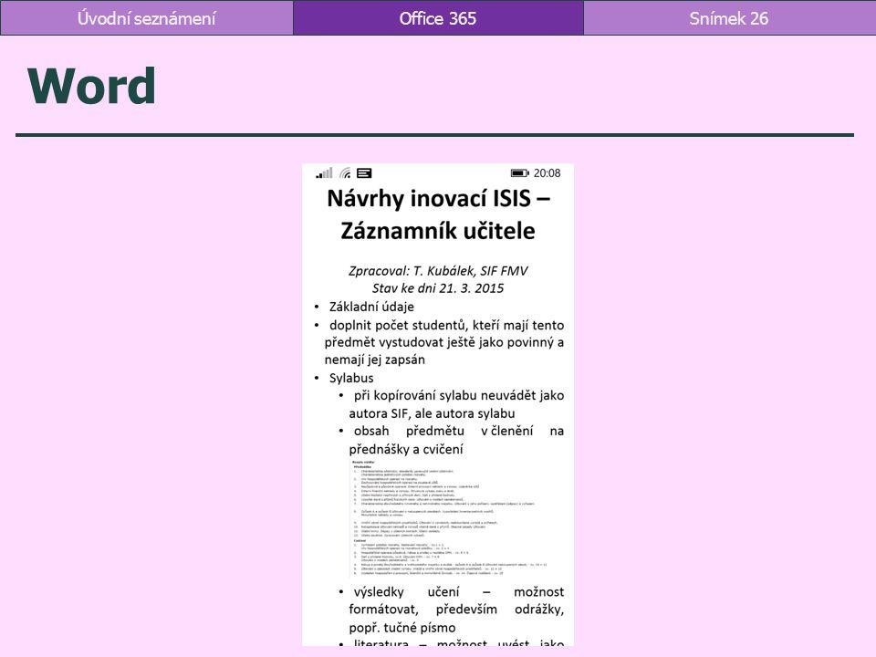 Úvodní seznámení Office 365 Word