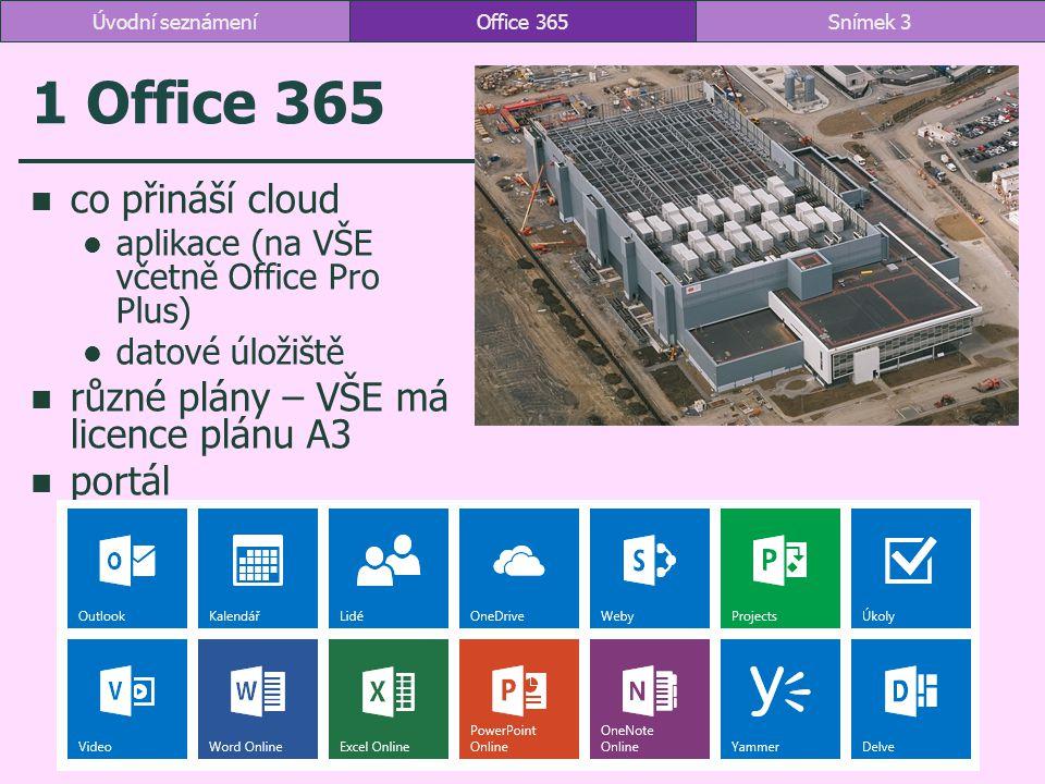 1 Office 365 co přináší cloud různé plány – VŠE má licence plánu A3