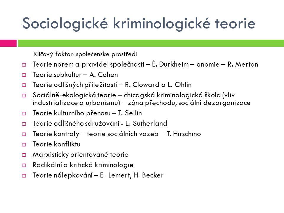 Sociologické kriminologické teorie