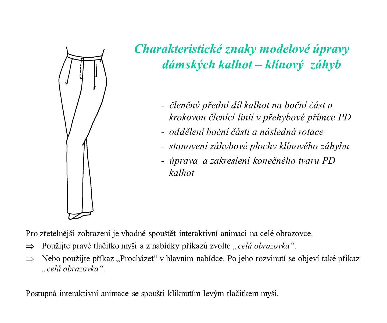 Charakteristické znaky modelové úpravy dámských kalhot – klínový záhyb