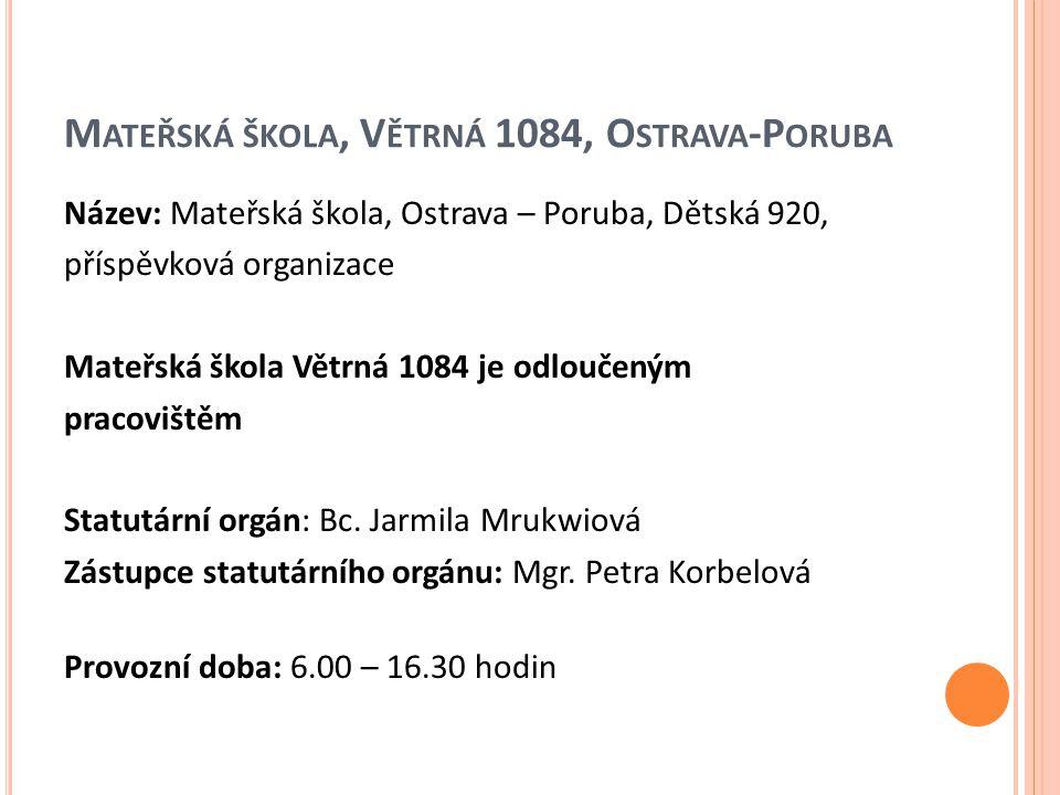 Mateřská škola, Větrná 1084, Ostrava-Poruba