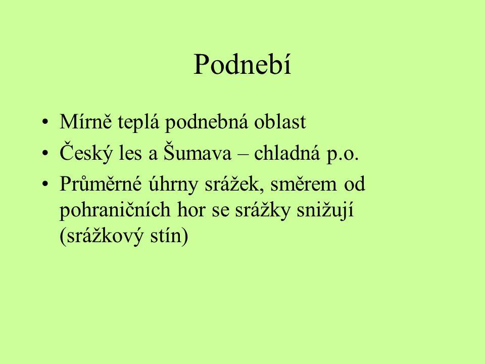 Podnebí Mírně teplá podnebná oblast Český les a Šumava – chladná p.o.