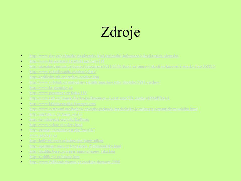 Zdroje http://www.risy.cz/cs/krajske-ris/plzensky-kraj/regionalni-informace/o-kraji/region-plzensko/