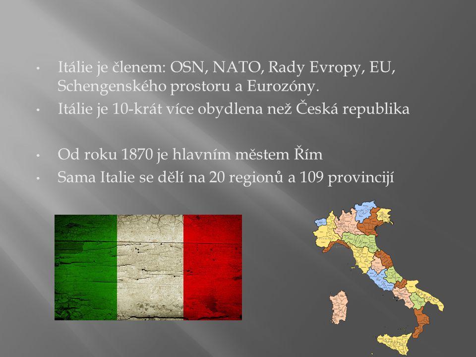 Itálie je členem: OSN, NATO, Rady Evropy, EU, Schengenského prostoru a Eurozóny.