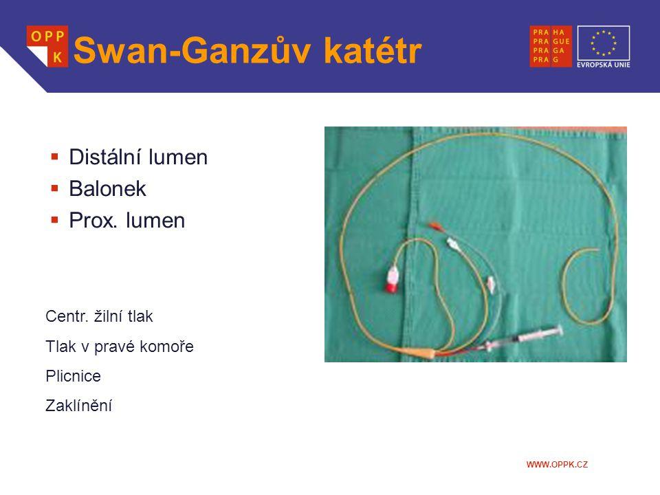 Swan-Ganzův katétr Distální lumen Balonek Prox. lumen