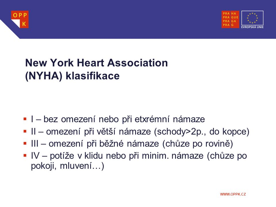 New York Heart Association (NYHA) klasifikace