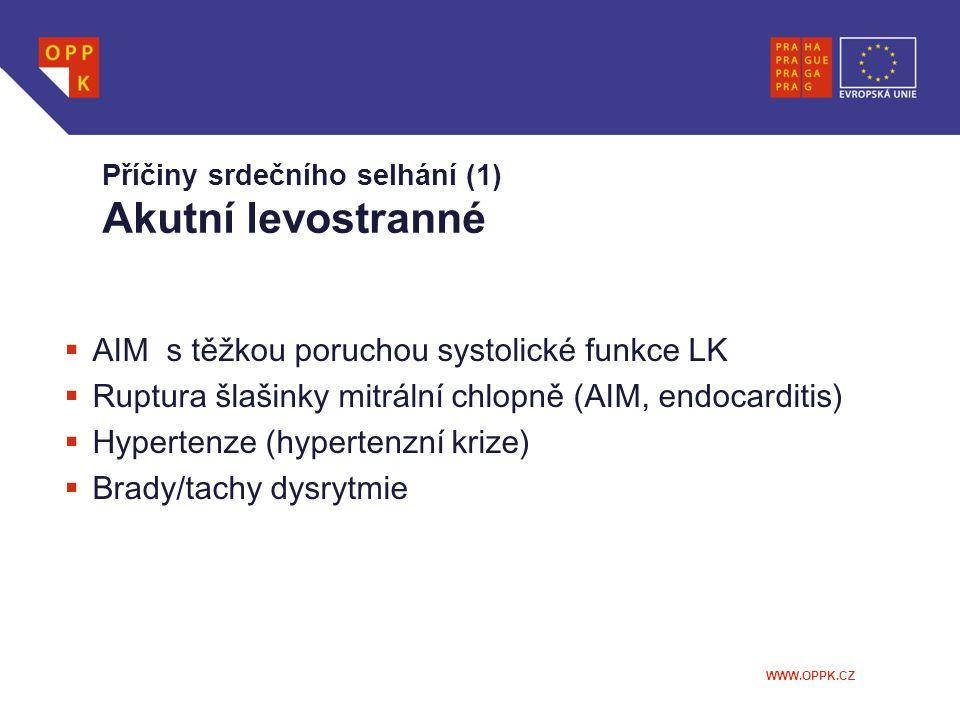 Příčiny srdečního selhání (1) Akutní levostranné
