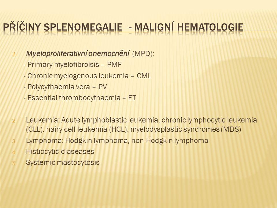 Příčiny splenomegalie - maligní hematologie