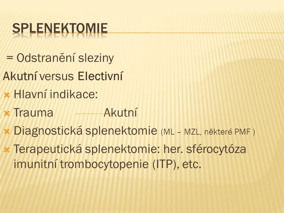 Splenektomie = Odstranění sleziny Akutní versus Electivní