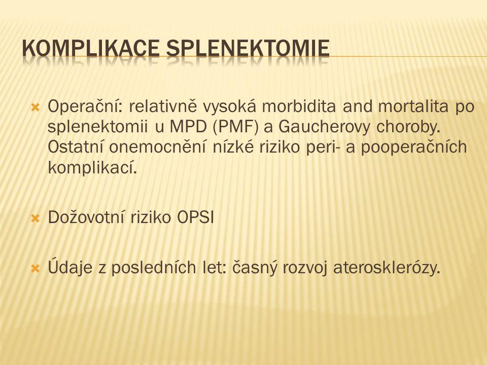 komplikace splenektomie