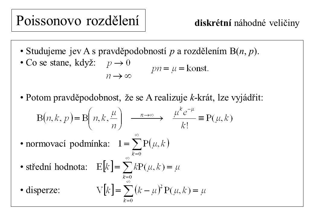 Poissonovo rozdělení diskrétní náhodné veličiny