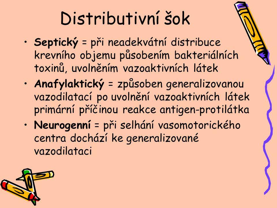 Distributivní šok Septický = při neadekvátní distribuce krevního objemu působením bakteriálních toxinů, uvolněním vazoaktivních látek.
